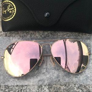 Ray ban aviators 58mm rose gold sunglasses 3025